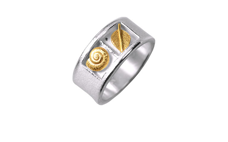 12729-Ring, Silber 925 mit Gold 750