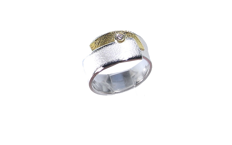 12843-Ring 750 Gold, 925 Silber mit Brillant