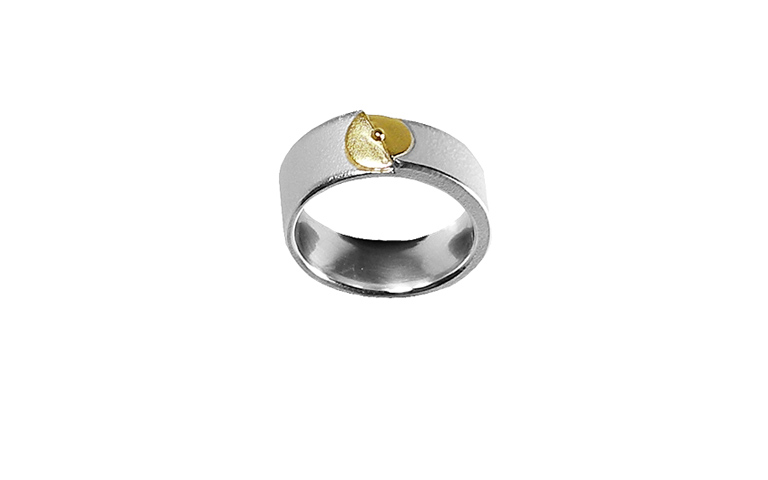 12862-Ring, Silber 925 mit Gold 750