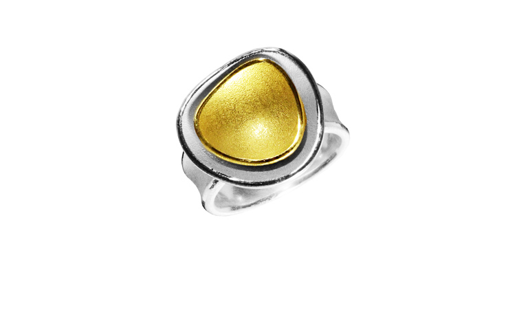 12877-Ring, Silber 925 mit Gold 750
