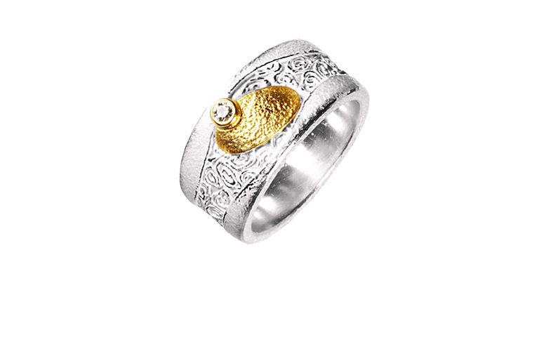 12899-Ring, Silber 925 mit Gold 750