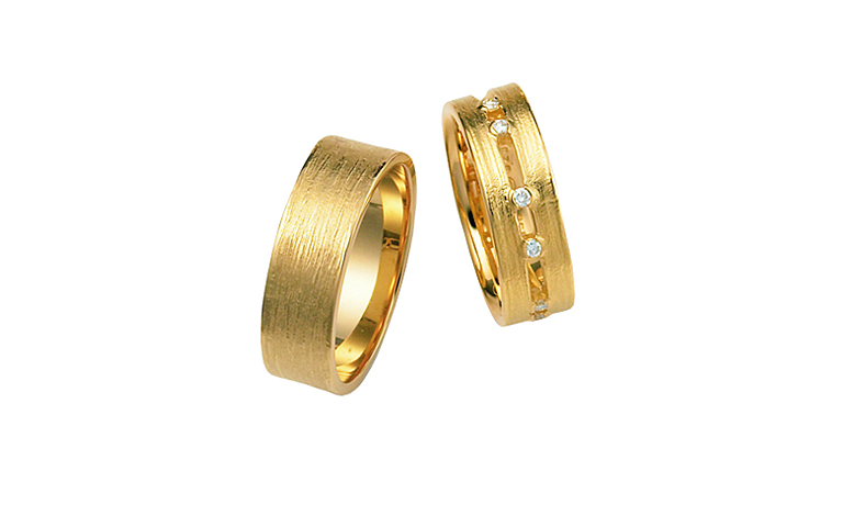 02255+02297-Trauringe, Gold 750 mit Brillanten