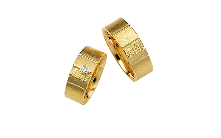 05006+05007-Trauringe, Gold 750, mit Brillant