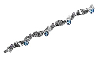 44348-bracelet, whitegold 750 with brillants, navette cut and aquamarin