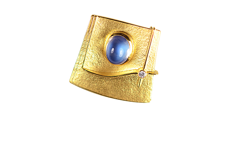 00435-brooch, gold 750 with brillant and aquamarine