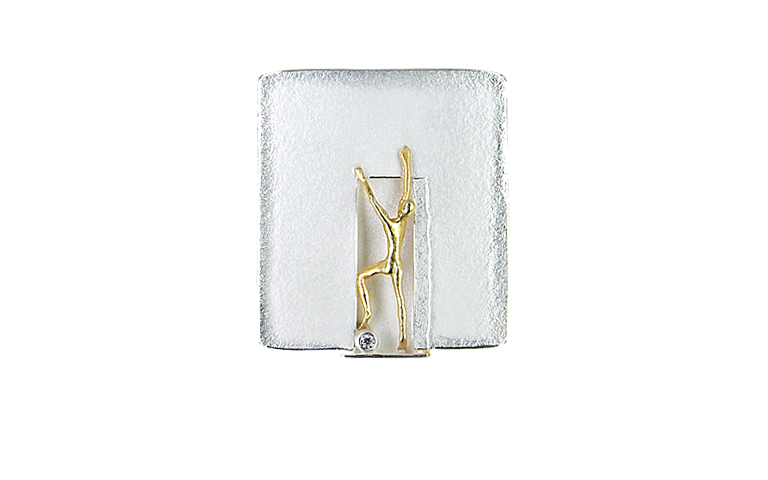 10429-brooch silver 925 with gold 750, brillant