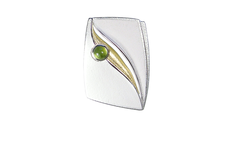 10444-brooch silver 925 with gold 750 and peridot