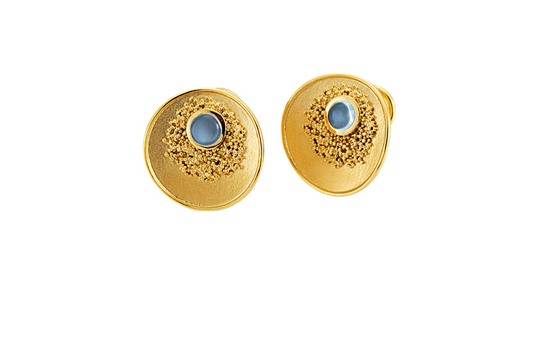 07338-earrings, gold 750 with moonstone