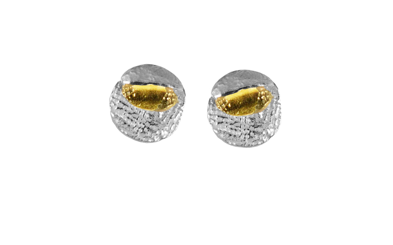 15140-earrings, silver 925 with gold 750