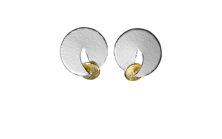 15249-earrings, silver 925 with gold 750