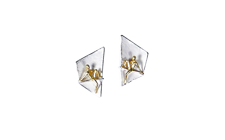 15331-earrings, silver 925 and gold 750