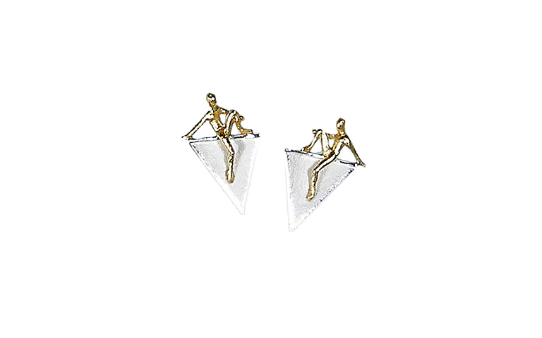 15332-earrings, silver 925 and gold 750