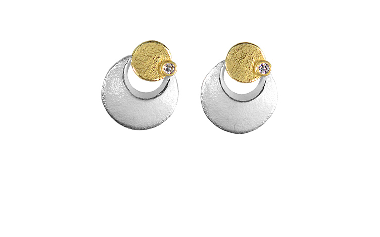 15339-earrings, silver 925 with gold 750 and brilliants