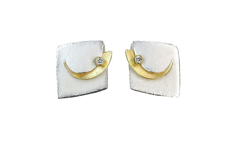 15372-earrings, silver 925 and gold 750 and brilliant