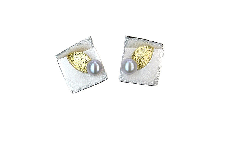 15376-earrings, silver 925 and gold 750 and pearls