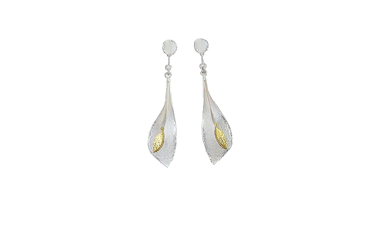 15382-earrings, silver 925 and gold 750