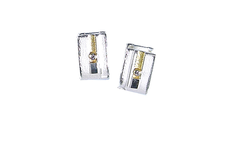 15402-earrings, silver 925 and gold 750 and brilliants