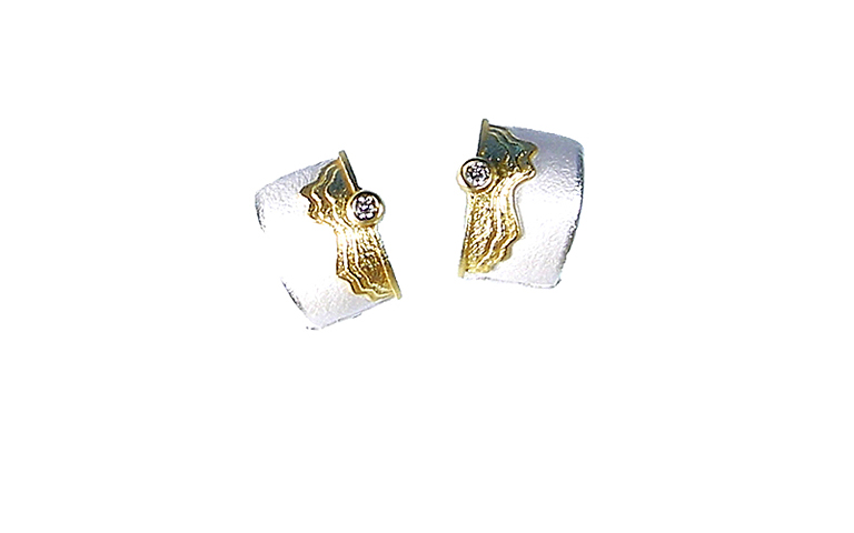 15403-earrings, silver 925 and gold 750 and brilliants