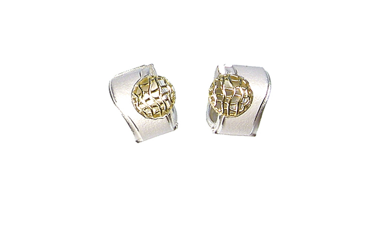 15404-earrings, silver 925 with gold 750