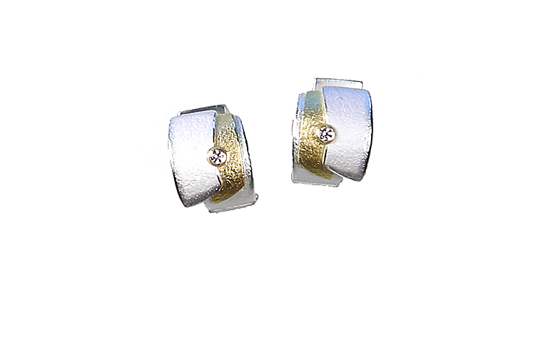 15405-earrings, silver 925 and gold 750 with brilliants