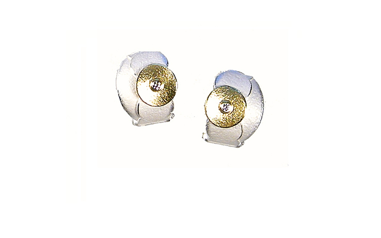 15406-earrings, silver 925 and gold 750 with brilliants