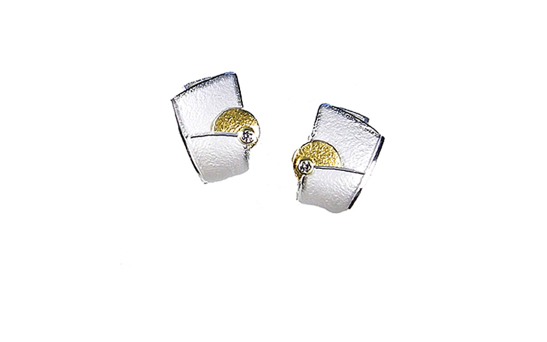 15407-earrings, silver 925 and gold 750 with brilliants