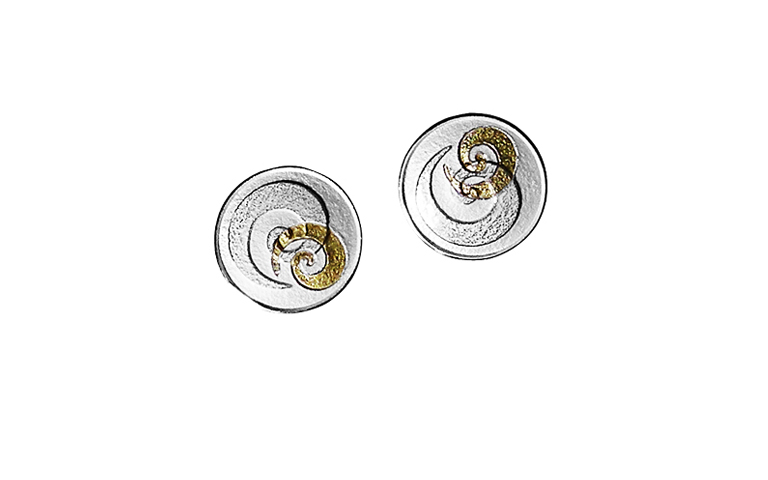 15416-earrings, silver 925 with gold 750