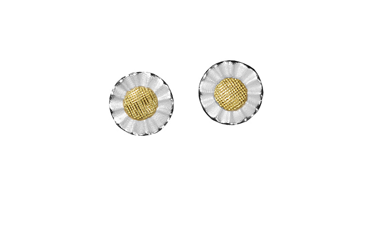15420-earings, silber 925 with gold 750