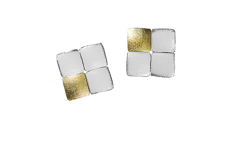 15421-earings, silber 925 with gold 750