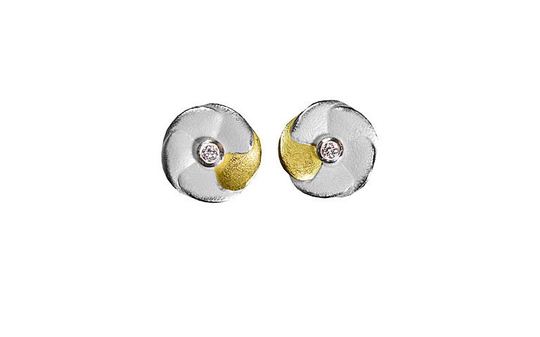 15422-earings, silber 925 with gold 750