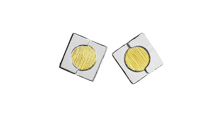 15423-earings, silber 925 with gold 750