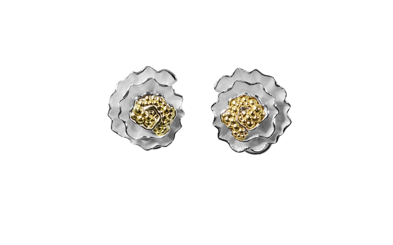 15428-earrings, silver 925 with gold 750