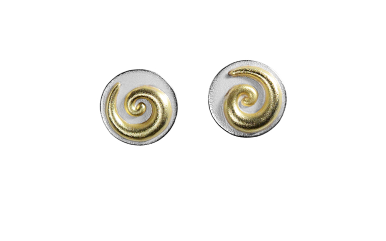 15429-earrings, silver 925 with gold 750