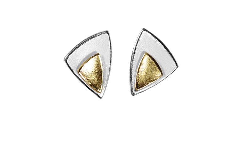 15431-earrings, silver 925 with gold 750