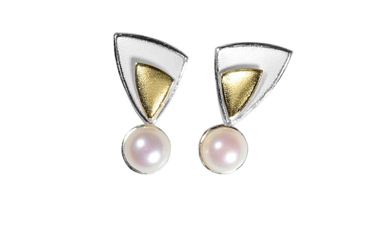 15432-earrings, silver 925 with gold 750 and pearls