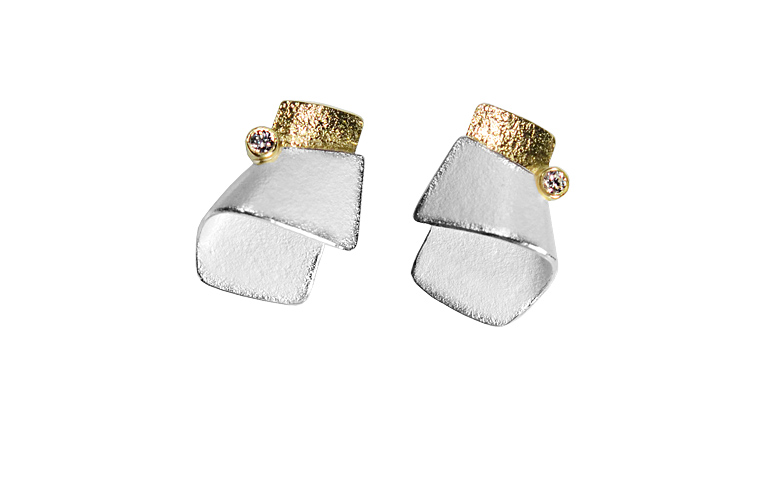 15433-earrings, silver 925 with gold 750 and brillants