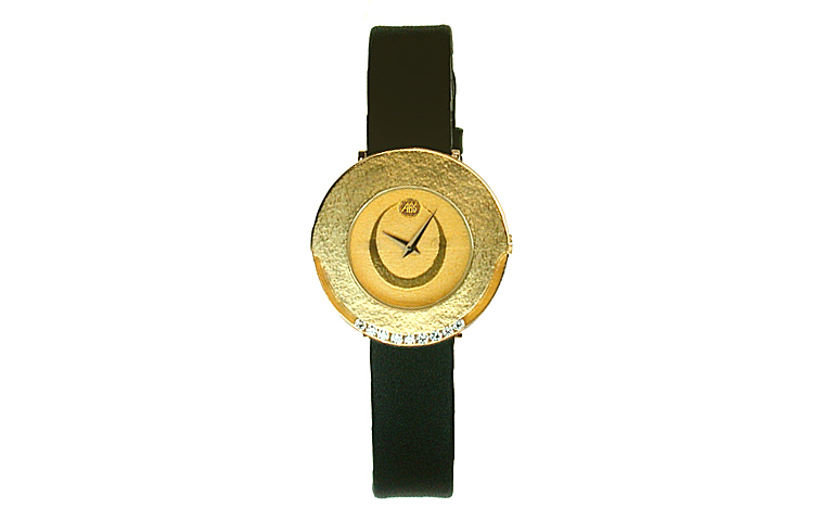 06350-watch, gold 750 with 9 brilliants, vvsi tw 0,18 ct