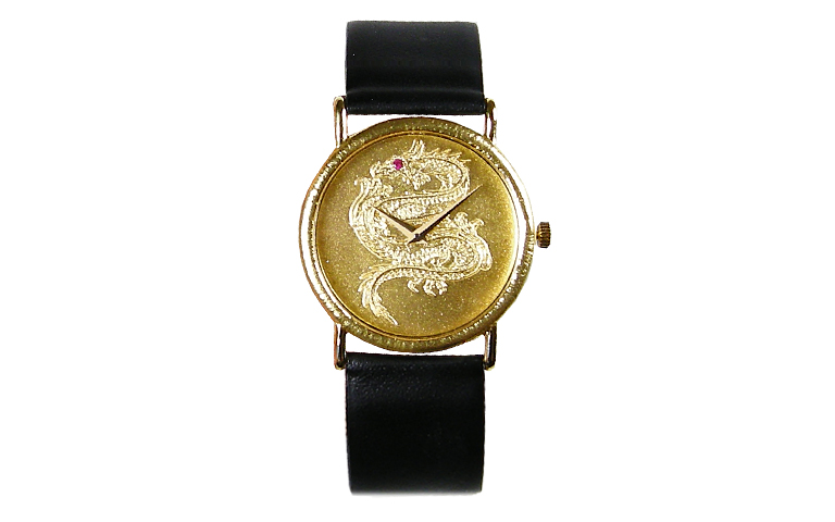 06374-watch, gold 750 with a small ruby