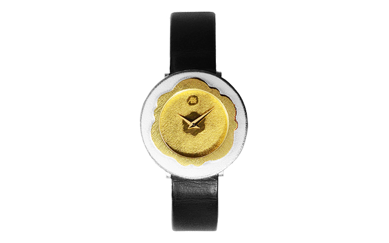 16163-watch, silver 925 with gold 750