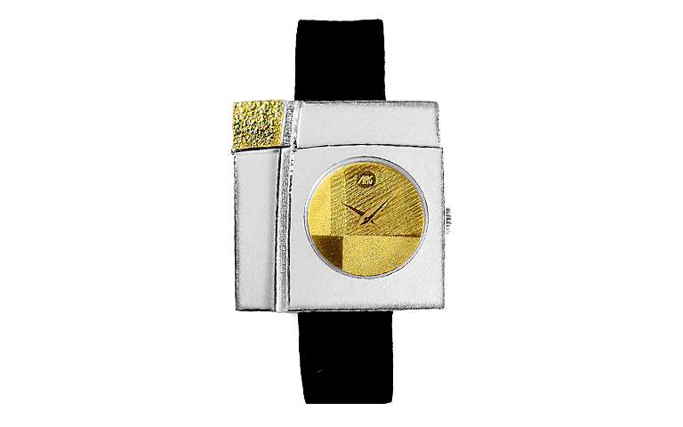 16186-watch, silver 925, gold 750