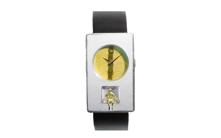 16193-watch, silver 925 with gold 750