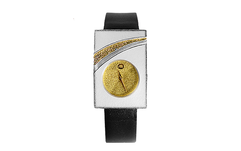 16195-watch, silver 925, gold 750