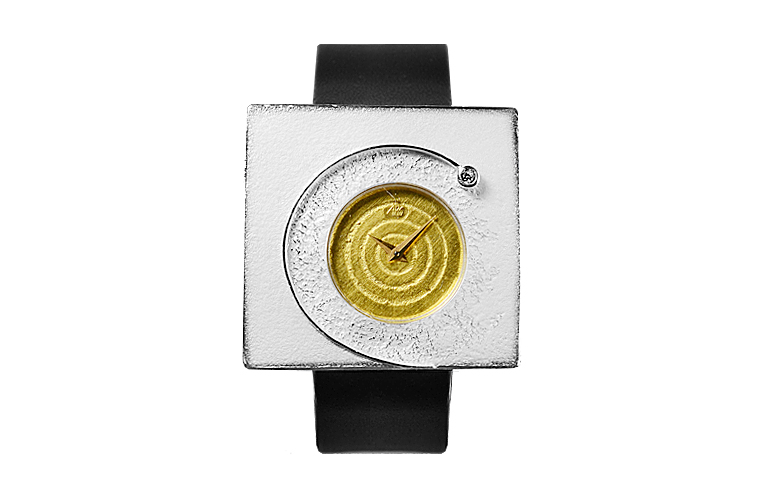 16196-watch, silver 925, gold 750, brillant
