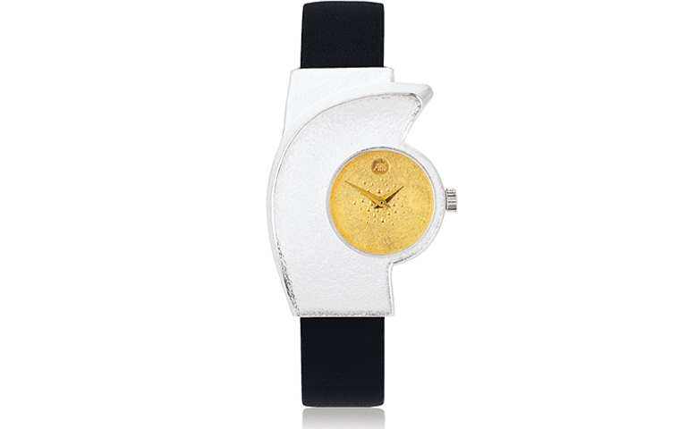16199-watch, silver 925 with gold 750