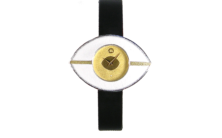 16205-watch, silver 925 with gold 750