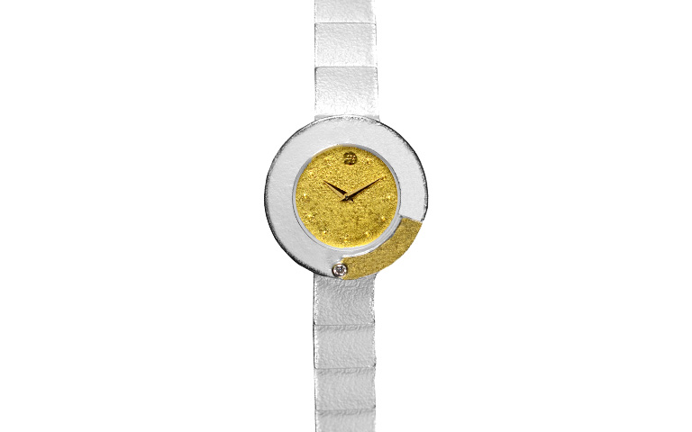 16214-watch, silver 925 with gold 750