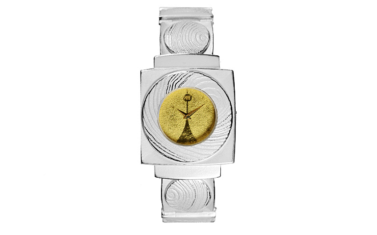 16215-watch, silver 925 with gold 750