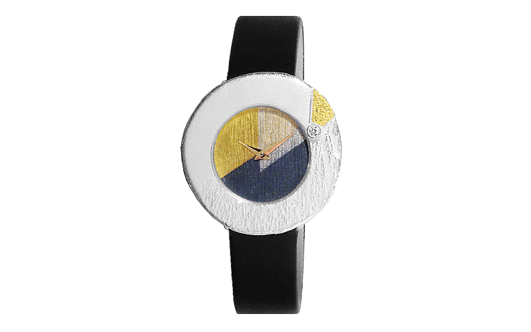 16220-watch, silver 925 and gold 750, brillant, figure sheet fine gold with grey platinum