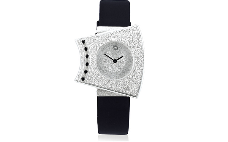 36011-watch, silver 925 with black brilliants