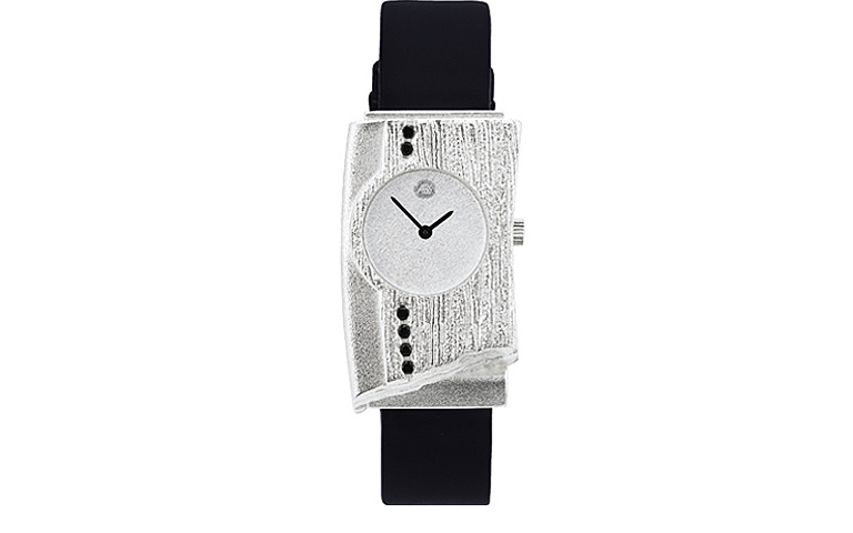 36012-watch, silver 925 with black brilliants